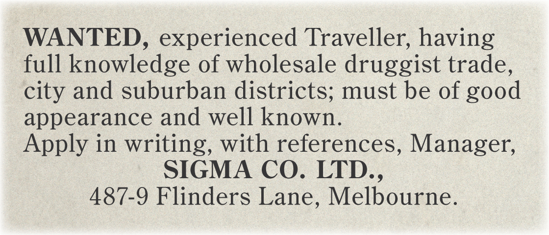 1925 – Ad for traveller