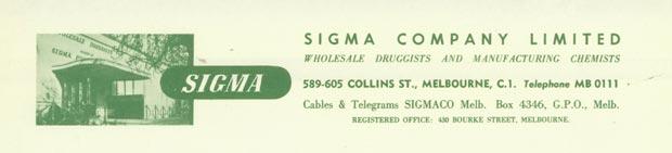 Sigma Letterhead 1958